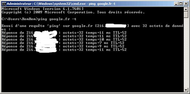 Le ping est en cours. (IP censurée)