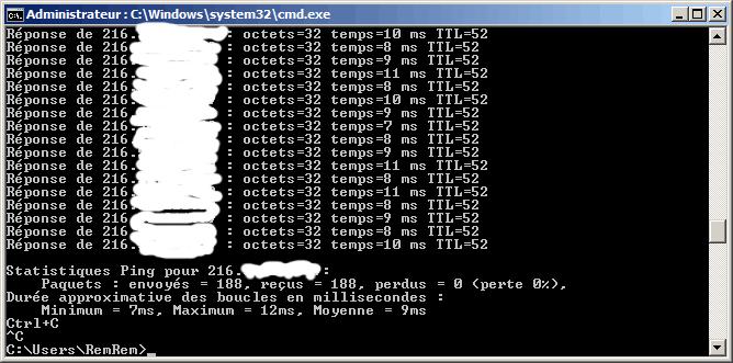 Résultat de la commande ping. (IP censurée)